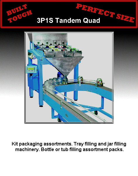 Kit packaging assortments. Tray filling and jar filling